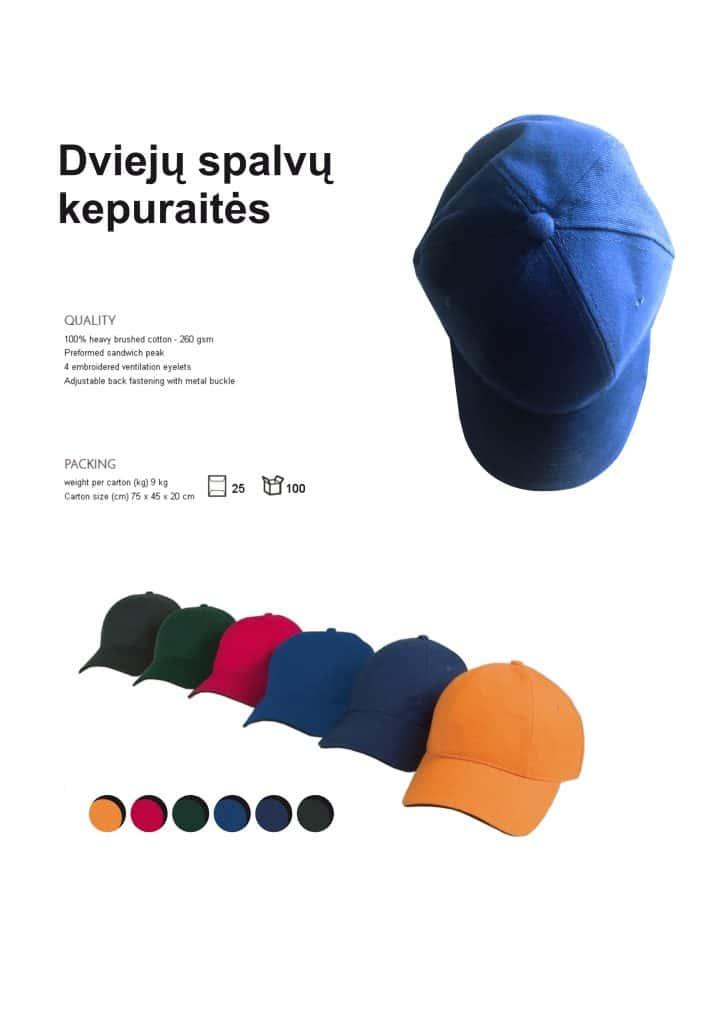 Dviejų spalvų kepuraitės