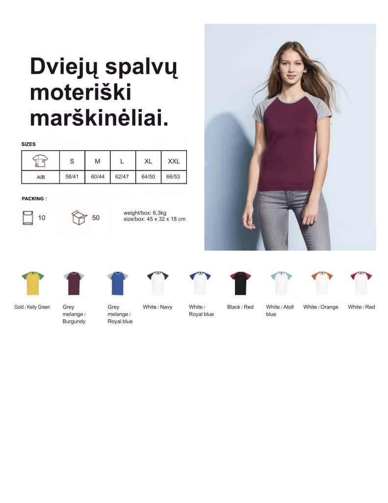 Dviejų spalvų moteriški marškinėliai