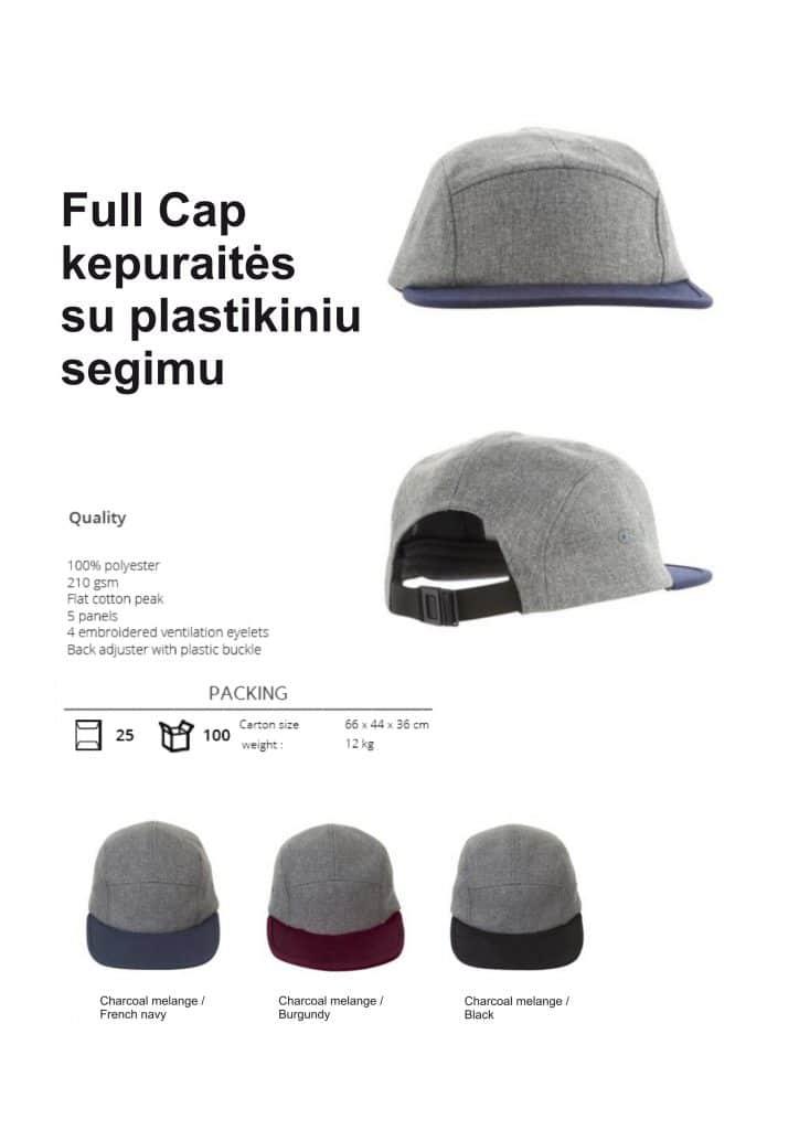 Full Cap kepuraitės su plastikiniu segimu