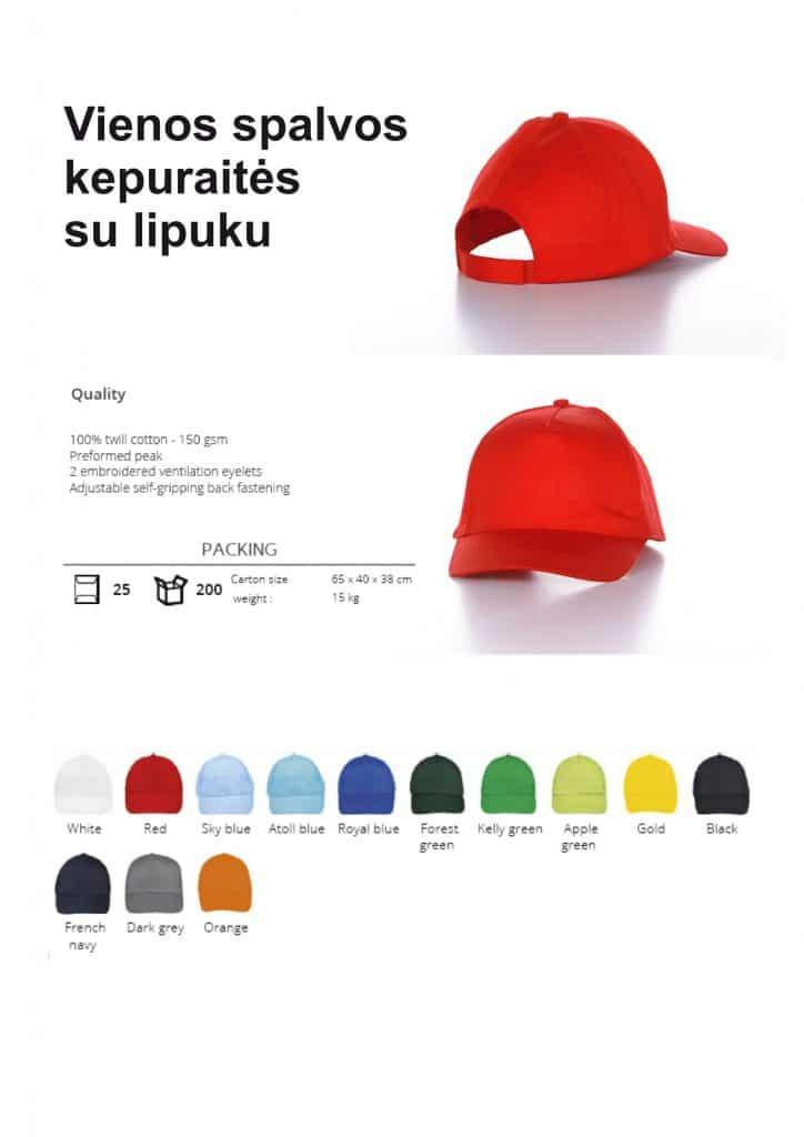 Vienos spalvos kepuraitės su lipuku